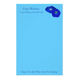 Personalize Brilliant Blue Morning Glory Flower Customized Stationery