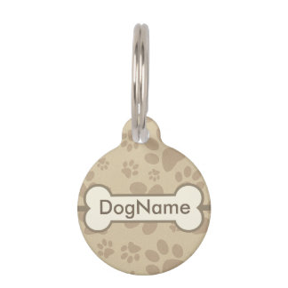 Personalize Brown Dog Paw Prints Pet Tag