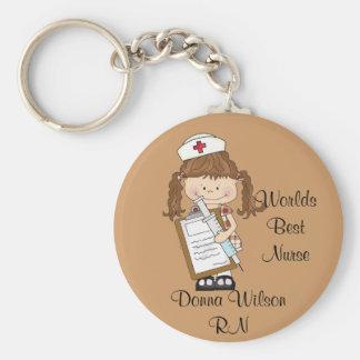 Personalize Brunette Nurse Gifts! Key Ring