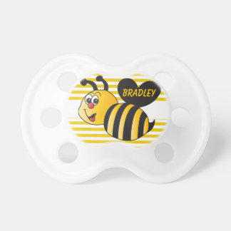 Personalize Cartoon Bumble Bee Baby Pacifiers
