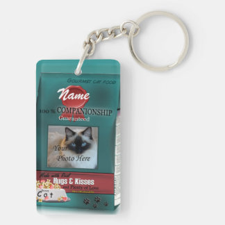 Personalize Cat Food Brand Double-Sided Rectangular Acrylic Key Ring