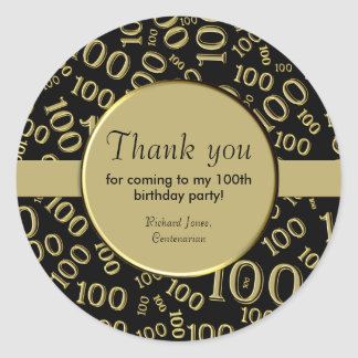 Personalize:  Centenarian, 100th Birthday Thanks Classic Round Sticker