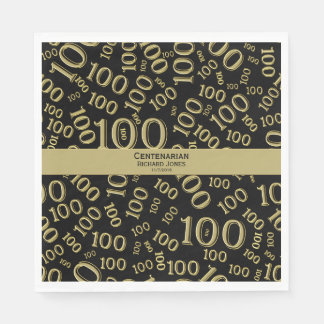 Personalize:  Centenarian, 100th Birthday Theme Disposable Napkin