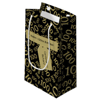 Personalize:  Centenarian, 100th Birthday Theme Small Gift Bag
