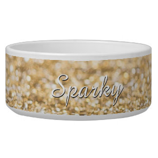 Personalize champagne gold glitter sparkles dog food bowls