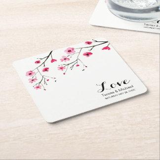 Personalize Cherry Blossom Watercolor Wedding Square Paper Coaster