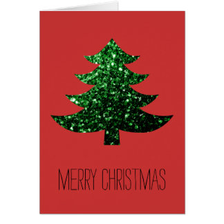 Personalize Christmas tree green sparkles on Red Greeting Card