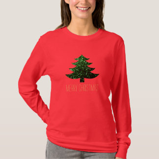 Personalize Christmas tree green sparkles T-Shirt
