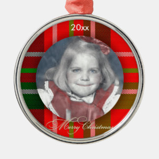 Personalize:  Circle Photo Frame Christmas Tartan Christmas Ornament