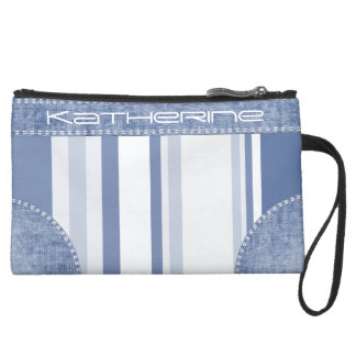 Personalize: Classic Blue and White Stripes Wristlet