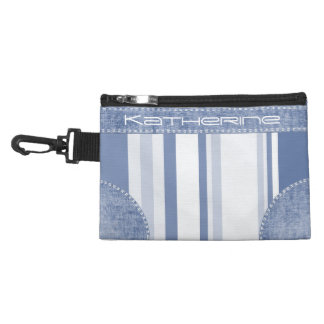 Personalize: Classic Blue and White Stripes Accessory Bag