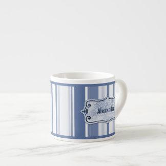 Personalize: Classic Blue and White Stripes Espresso Mug