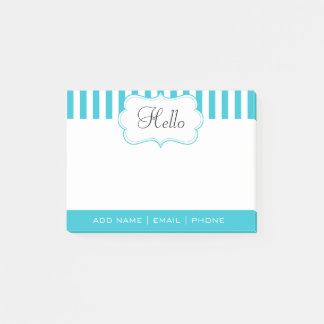 Personalize Classy Aqua Blue Stripes Post-it Notes