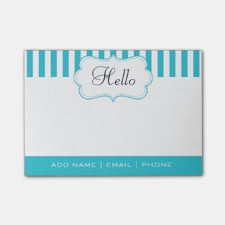 Personalize Classy Aqua Blue Stripes Post-it® Notes