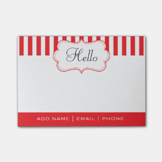 Personalize Classy Poppy Red Stripes Post-it® Notes