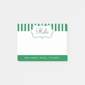 Personalize Classy Shamrock Green Stripes Post-it Notes