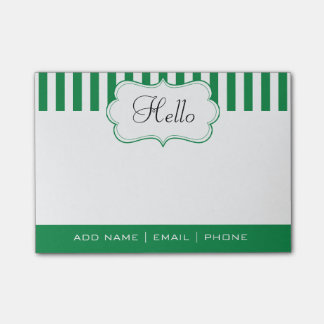 Personalize Classy Shamrock Green Stripes Post-it® Notes