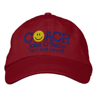 Personalize Coach Smiley Cap Your Name Your Game! Embroidered Cap