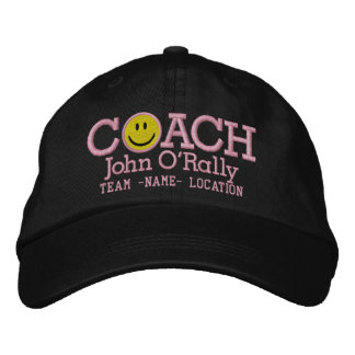 Personalize Coach Smiley Cap Your Name Your Game! Embroidered Baseball Caps