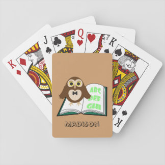 Personalize Cool Cute owl with Alphabet book Poker Deck