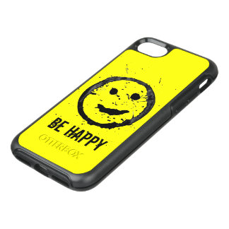 Personalize Cool Stained Happy Smiley face Yellow OtterBox Symmetry iPhone 7 Case