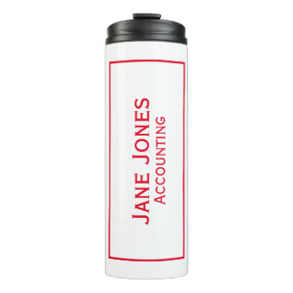Personalize: Corporate Minimal Red and White Thermal Tumbler