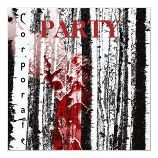 Personalize Corporate Party Deer in Birch Trees Card