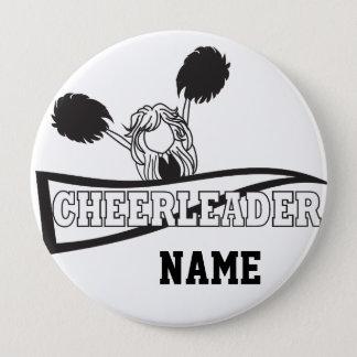 Personalize Cute Black Cheerleader Girl 10 Cm Round Badge