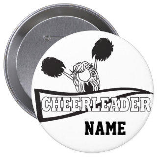 Personalize Cute Black Cheerleader Girl 10 Cm Round Badge