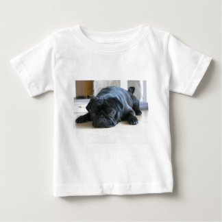 Personalize cute black Pug Puppy accessories name Baby T-Shirt