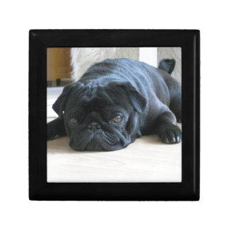 Personalize cute black Pug Puppy accessories name Small Square Gift Box