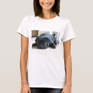Personalize cute black Pug Puppy accessories name T-Shirt