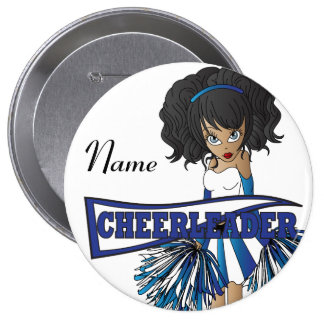 Personalize Cute Blue Cheerleader Girl 10 Cm Round Badge