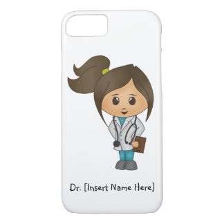 Personalize Cute Brunette Female Doctor iPhone 7 iPhone 8/7 Case
