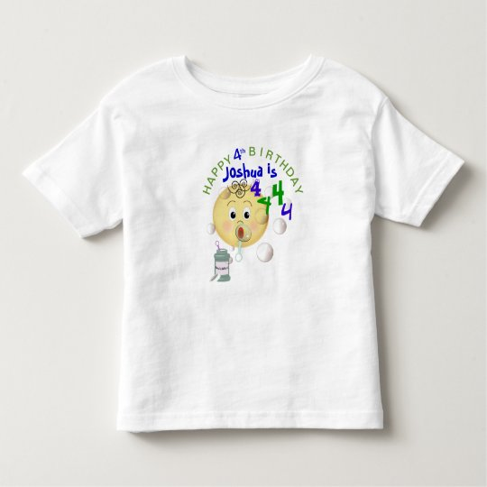 PERSONALIZE Cute Bubbles Happy Birthday for Boy Toddler T-Shirt