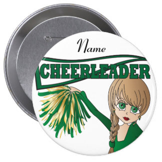 Personalize Cute Green Cheerleader Girl 10 Cm Round Badge