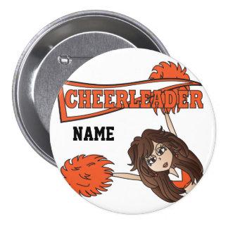 Personalize Cute Orange Cheerleader Girl 7.5 Cm Round Badge
