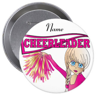 Personalize Cute Pink Cheerleader Girl 10 Cm Round Badge