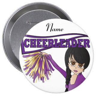 Personalize Cute Purple Cheerleader Girl 10 Cm Round Badge