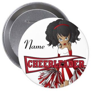 Personalize Cute Red Cheerleader Girl 10 Cm Round Badge