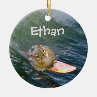 Personalize Cute Surfing Chipmunk Christmas Ornament