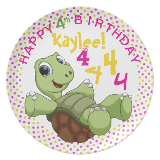 PERSONALIZE Cute Turtle Happy Birthday for Girl Plate