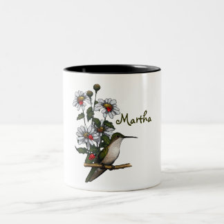 Personalize: Daisies, Hummingbird, Ladybugs: Art Two-Tone Coffee Mug