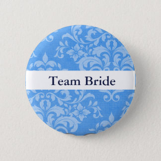 Personalize Damask Wedding Team Bride 6 Cm Round Badge