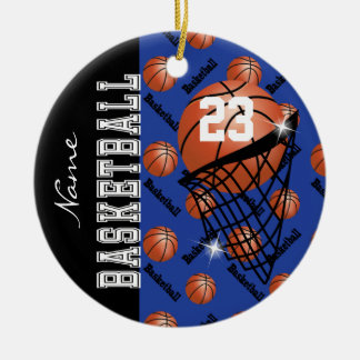 Personalize Dark Blue Basketball Round Ceramic Decoration