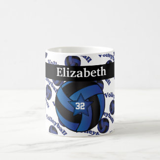 Personalize Dark Blue Volleyball Basic White Mug