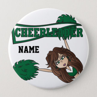 Personalize Dark Green Cheerleader Girl 10 Cm Round Badge