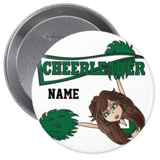 Personalize Dark Green Cheerleader Girl Buttons
