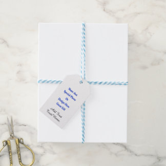Personalize Different Image Both Sides-Black Text Gift Tags