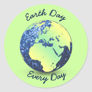 Personalize Earth Day blue sparkles Globe Round Sticker